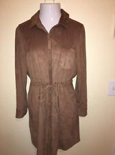 TOMMY HILFIGER DRESS CAMEL BROWN FAUX SUEDE DRAWSTRING WAIST BUTTON DOWN SIZE 10