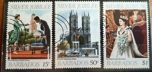 1977 Barbados Full Set Of 3 Stamps - Silver Jubilee - PC/LH
