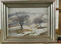 Leo Eagle 1897-1987 Oil Painting Antique Schneeschmelze Winter Landscape Trees