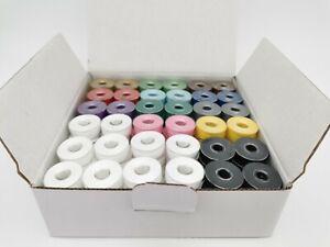 Prewound Bobbins, Size L,Brother SA155,144pcs Plastic Sided, 40S/2, Multi-color