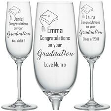 Personalised Engraved CHAMPAGNE FLUTE GLASS PROSECCO GRADUATION GIFT