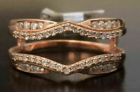 Women Solitaire Enhancer 1.4ct Diamond Ring Guard Wrap Jacket 14k Rose Gold Over