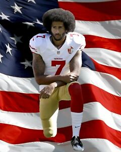 Colin Kaepernick Kneeling Protest photo with American Flag  - select size