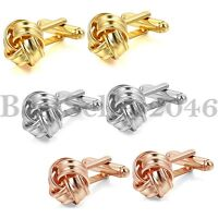 Men Gold SIlver Rosegold Tone Knot Wedding Party Gift Shirt Cuff Links Cufflinks