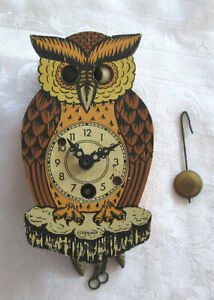 Vintage Owl Wall Clock Moving Eyes Germany For Parts or Repair
