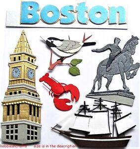 BOSTON Jolee's Boutique 3-D Stickers USA America Pilgrims Tea Party