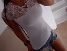 Cotton Shirt Spitze Neu XS S M Weiß Top Blogger Trend Italy MUSTHAVE Bluse 36 34