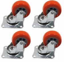 "4 Pack 2"" Casters Orange Polyurethane Wheels Swivel Caster Heavy Duty PU 400LB"