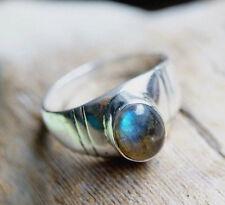 Schlicht Silberring 58 Rund Labradorit Handarbeit Blau Bunt Silber Ring Ehering