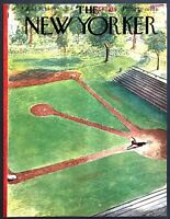 1949 Boy Sliding to Home Plate Empty Field art Aug 27 New Yorker Mag COVER ONLY