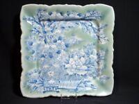 Antique Japanese Imari Celadon Square Plate Seiji-Sometsuke Peony Garden 19th C