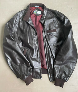 Vintage Members Only Brown Leather Bomber Jacket Mens Size 46L 1980s
