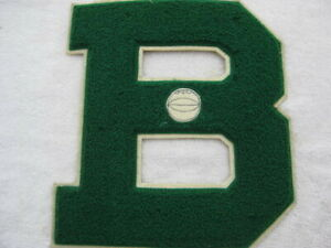 """Vintage Varsity Letter Patch """"B"""" Green White Basketball Lowe & Campbell 8.5X7.5"""