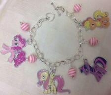 *Handcrafted MY LITTLE PONY Styled 5 Charm Beaded Silver Plated Bracelet**