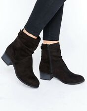 EX HIGH STREET WOMEN'S BOOTS SLOUCH ANKLE CHELSEA STYLE ZIP BLACK WARM UK 3-UK 8