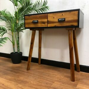 Solid Wooden Console Table with Black Details Angled Legs and Drawers