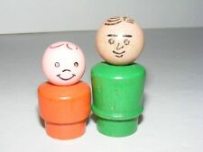 2 Vintage Fisher Price Wooden People Green Orange Dad Kid B27