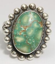 Vintage Navajo Sterling Silver Small Old Pawn Spiderweb Green Turquoise Ring 925