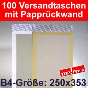 100 Versandtaschen B4, Papprückwand, Haftklebung - Weiß - verstärkte Umschläge