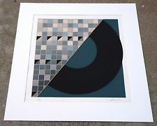 Vintage Geometric ART Print Lithograph Hand Signed Limited Edition Modernism