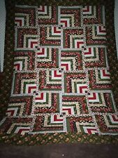 Nice Scrappy Bold Modified Log Cabin Strip Pattern Lap/ Crib Twin Bed Quilt Top