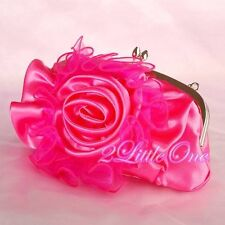 Hot Pink Satin Rosette Handbag Bag Wedding Flower Girl Bridesmaid Party #012