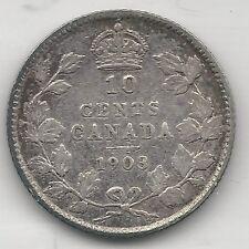 CANADA,  1903, 10 CENTS,  SILVER,  KM#10,  VERY FINE