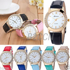 GENEVA WATCH Analog Fashion Women Crystal Rhinestone Leather Quartz Wrist Watch