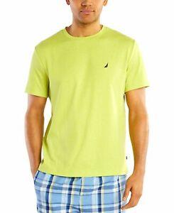 $79 Nautica Men's LONG SLEEVE Logo Shirt Sleepwear Crew-Neck T-Shirt Yellow L