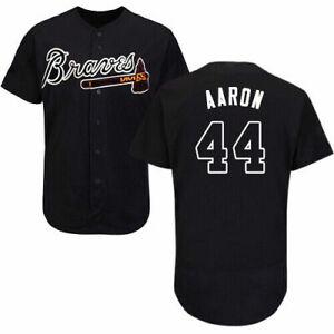 Atlanta Braves No44 Hank Aaron Black Baseball Jersey Fanmade Size S-4XL