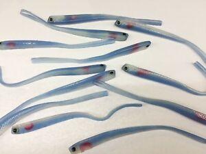 10 Stk Gummifische Iron Claw Blau Handpoured Dell-Tail 18cm Barsch- Zander-köder