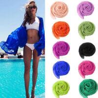 Women Solid Large Long Chiffon Silk Scarf Wrap Scarves Shawl Beach Sarong Ladies