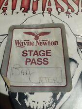 Vintage Wayne Newton original white back stage catering concert pass!
