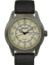 *BRAND NEW* Seiko Men's Recraft Solar Black Leather Strap Watch SNE447