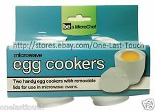 BE A MICROCHEF 2pc Microwave Oven EGG COOKERS w/Removable Lids WHITE Reusable