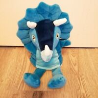 """Little Town Blue Triceratops Soft Dinosaur Hand Puppet 12"""" Toy"""