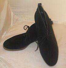 New Lucky Brand US 10 Black Suede Chukka Boots Two Eye Tie Up Rubber Sole