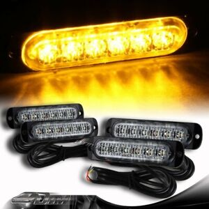 4X Super Bright 6-LED Amber Car Emergency Flash Beacon Strobe Lights Universal 1