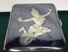 Vtg. Sterling Silver Siam Niello Cigarette Case (S16)