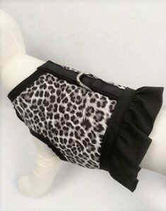Black And Gray Leopard Cheetah Animal Print Dog Harness Vest With Ruffle
