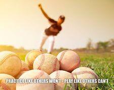 Baseball Motivational Poster Art Print 11x14 Shoes Gloves Little League  MVP484