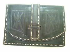 Vintage black tooled leather flat wallet purse