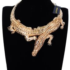 Fashion Gold Crocodile Alligator Chain Crystal Statement Pendant Bib Necklace