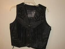 Ladies USA Bikers Dream Apparel Black Leather Black Rose Vest with Tassels (M)
