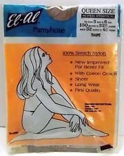 El-Al Queen Plus Size Pantyhose Stretch Nylon Taupe New Vintage