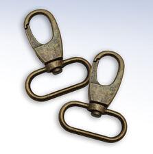 """Pair of Antiqued Bronze Lobster Clasp Swivel Hooks 1.5"""" Wide Loop Handbags Key"""