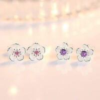 Pendientes de plata de ley 925 Sterling Silver Sakura Pink Purple Stud