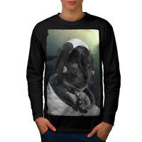 Pilot Animal Space Cat Men Long Sleeve T-shirt NEW   Wellcoda
