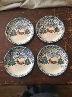 Folkcraft Tienshan Christmas Dinnerware Cabin In The Snow Salad Plates Set of 4