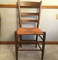 Antique quarter sawn oak chair rush seat ladder back replaced seat primitive